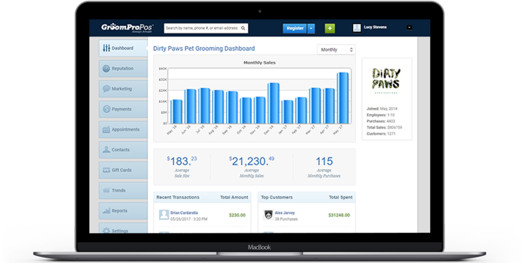 GroomPro POS Analytic report dashboard